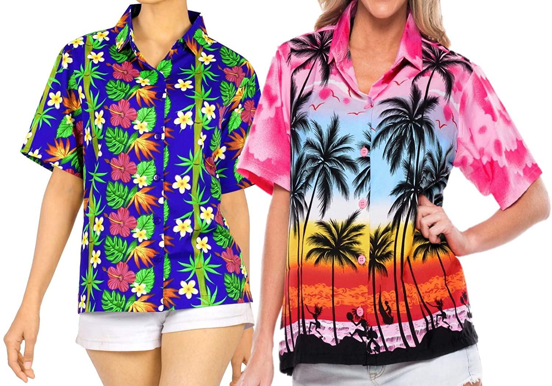 LA LEELA Women's Camp Hawaiian Blouse Shirt Button Down Up Beach Wear Work from Home Clothes Women Beach Shirt Blouse Shirt Combo Pack of 2 Size S