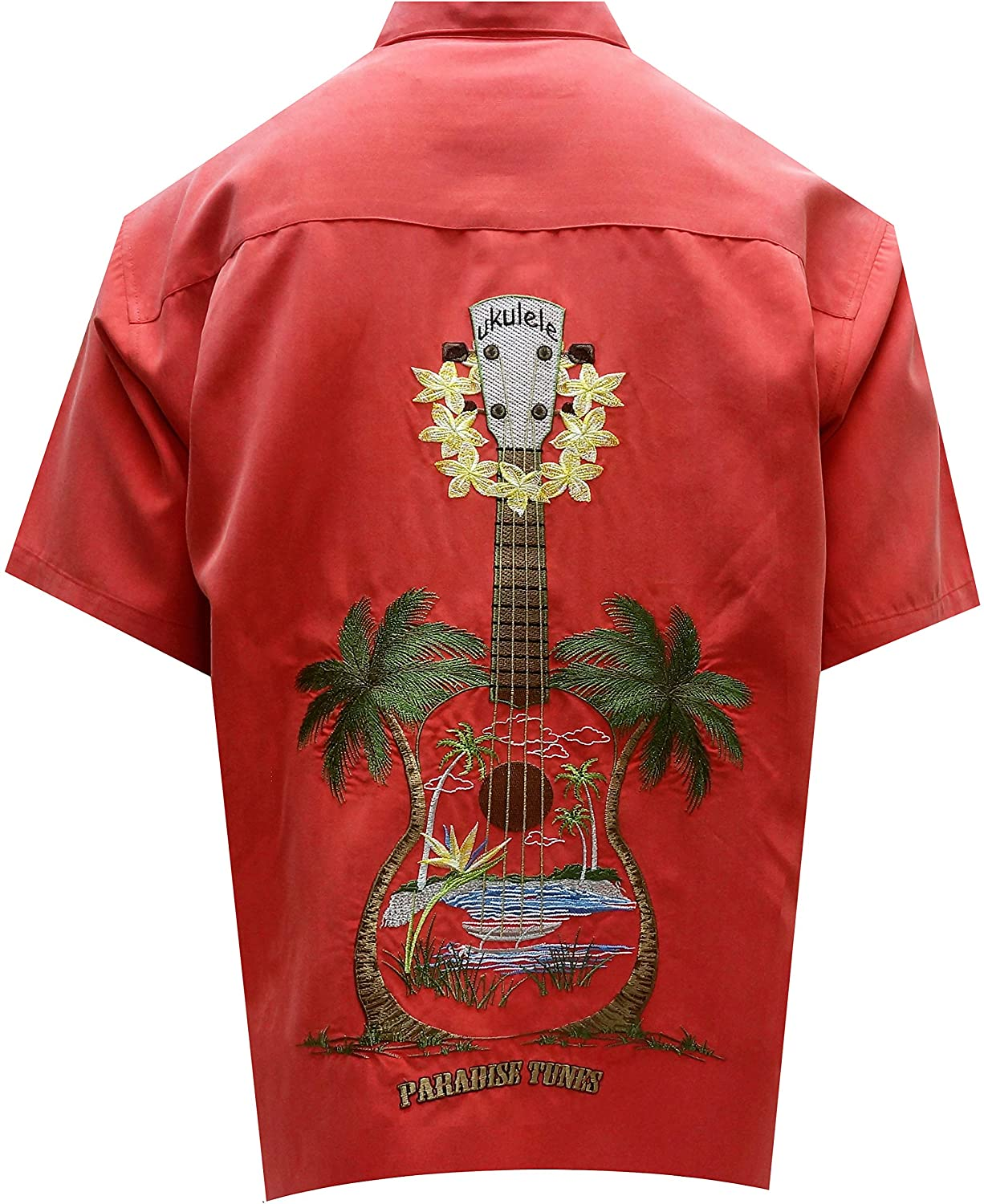 Bamboo Cay Men's Ukulele Island, Embroidered Tropical Style Button Shirt (3XL, Tomato)