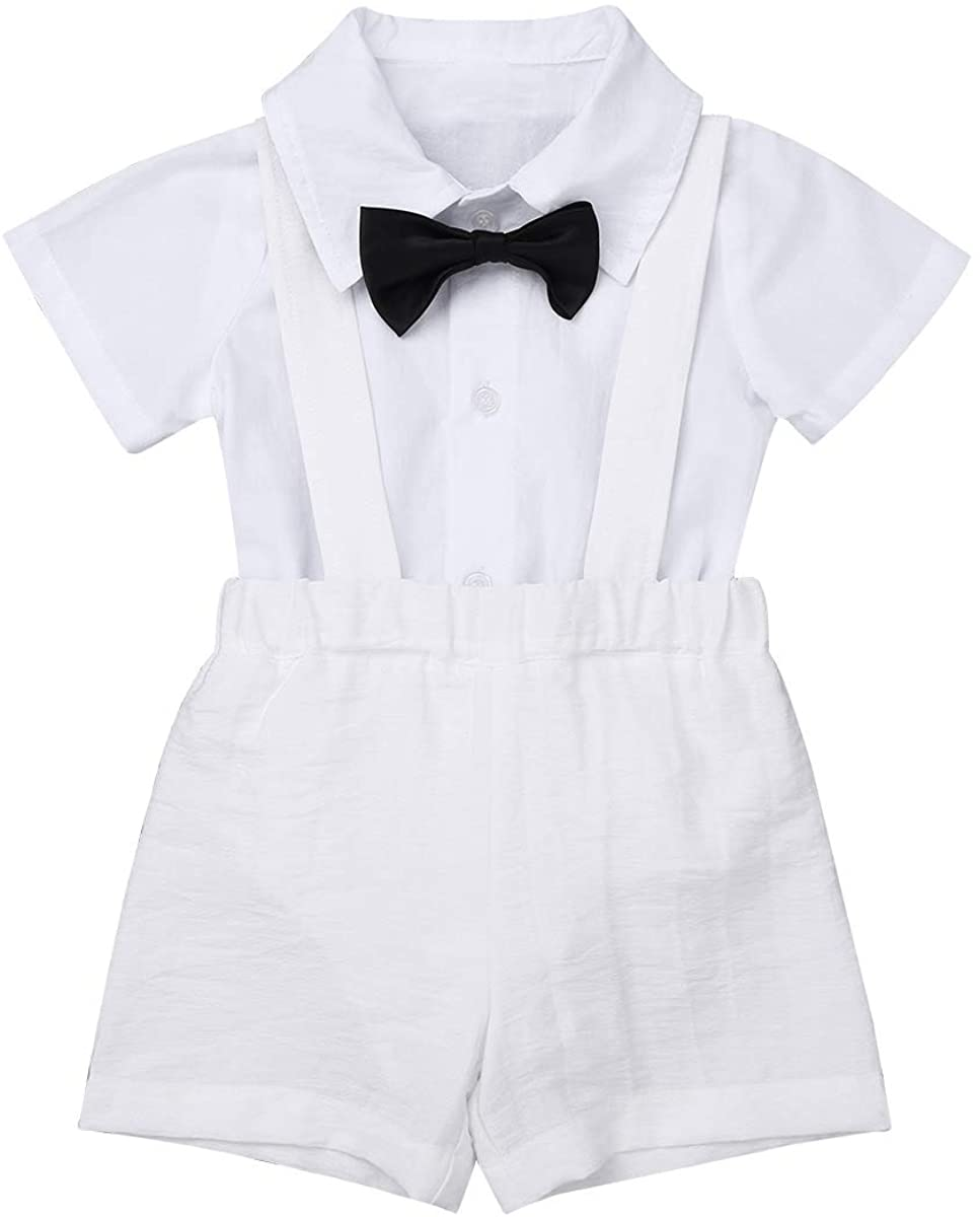 ACSUSS Baby Boys 2 Pieces Gentleman Outfits Bowtie Short Sleeve Lapel Collar Shirt Romper with Suspenders Bib Shorts