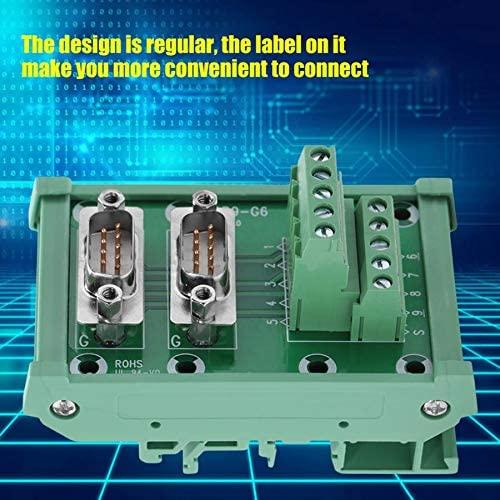 Davitu Terminals - conector DB9-G6 Double Male Head DIN Rail Mount Interface Module Terminal Block Board Solderless Wire Terminal