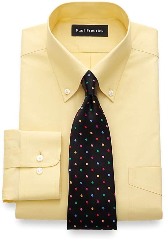 Paul Fredrick Men's Slim Fit Non-Iron Cotton Button Down Collar Dress Shirt Yellow 16.0/31 8501