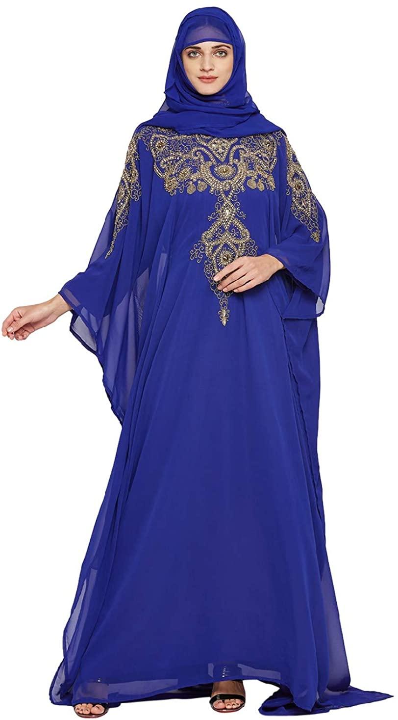 ANIIQ Women Dubai Kaftan Farasha Caftan Long Maxi Dress Long Sleeves Georgette Ethnic, Bridal, Evening, Party, Wedding Dress