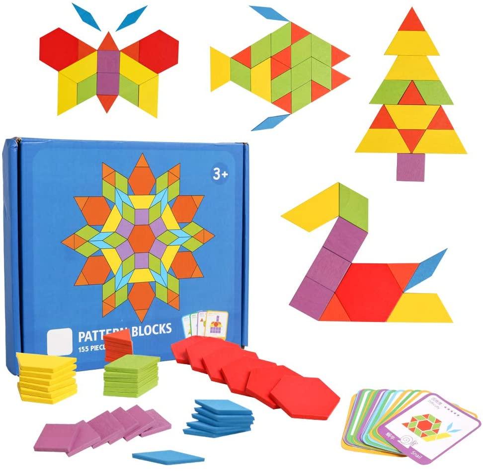 155 Pcs Wooden Pattern Blocks Set Geometric Manipulative Shape Puzzle Kindergarten Classic Educational Montessori Tangram Toys for Kids Boys Girls Ages 4-8 Brain Teasers Gift with 24 Pcs Design Cards