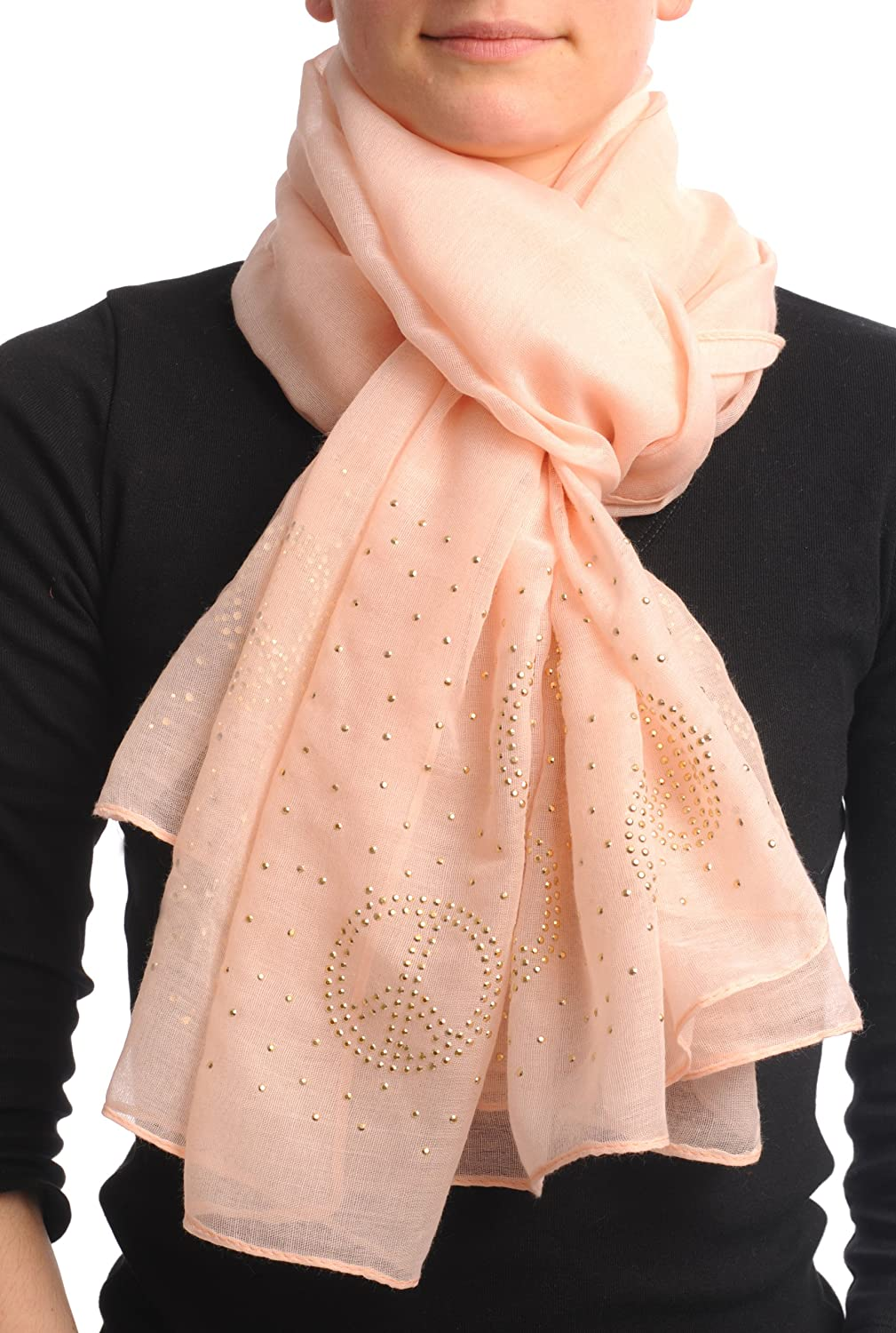 Spring Peach With Gold Studded Peace Signs Unisex Scarf & Beach Sarong - Scarf