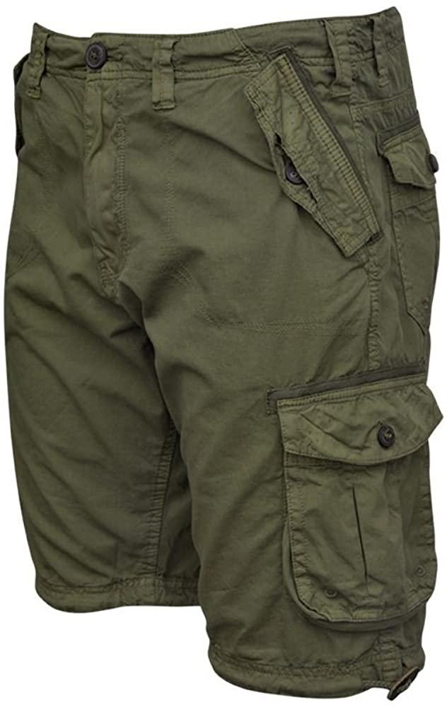 Shelikes Mens Knee Length Cargo Utility Summer Hiking Cotton Twill Pocket Shorts Pants