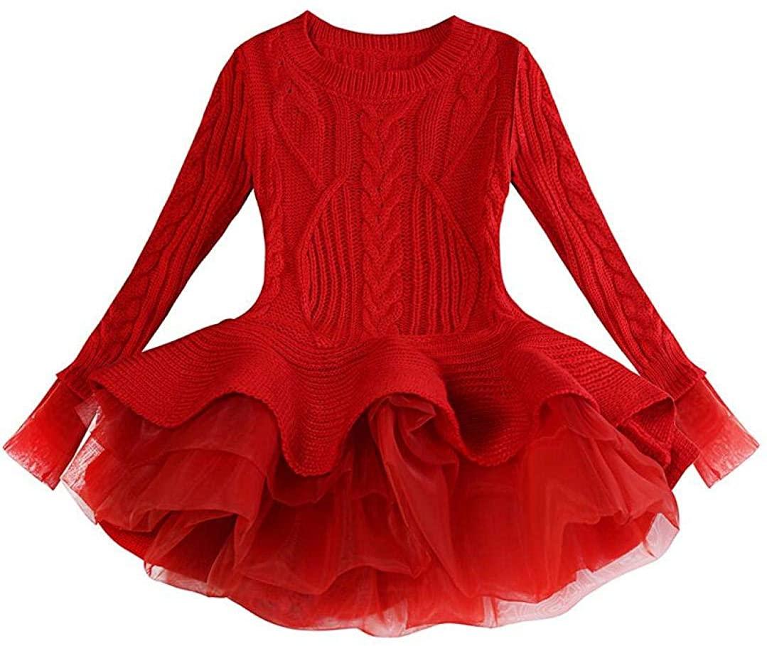 Kid Girls Winter Sweater Dress Lace Long Sleeve Tutu Dress Baby Girls Cute Princess Dress Children Clothing Party