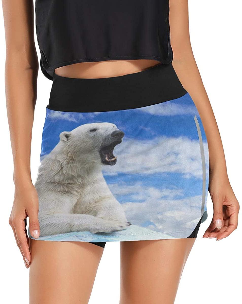 Skorts Skirts for Women Polar Bear Sky Ice Golf Skirts with Pockets Inner Biker Shorts Casual