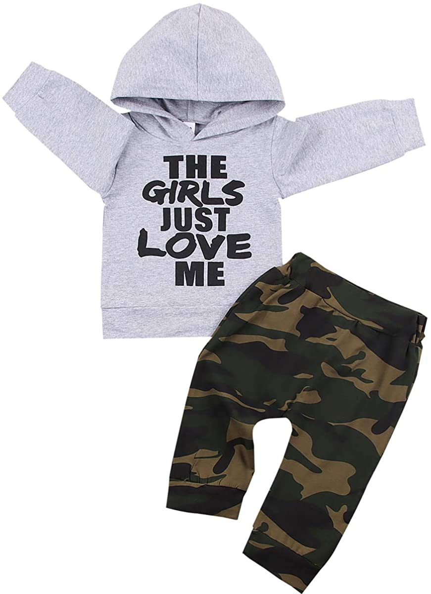 Infant Toddler Baby Boy Clothes Long Sleeve Funny Letter Print Hoodie Tops + Camouflage Pants 2Pcs Outfits Set 0-3T