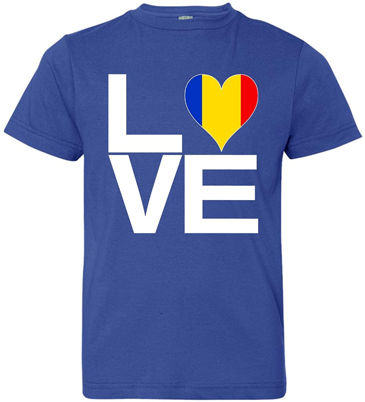 Tenacitee Girl's Youth Love Block Romania Heart T-Shirt