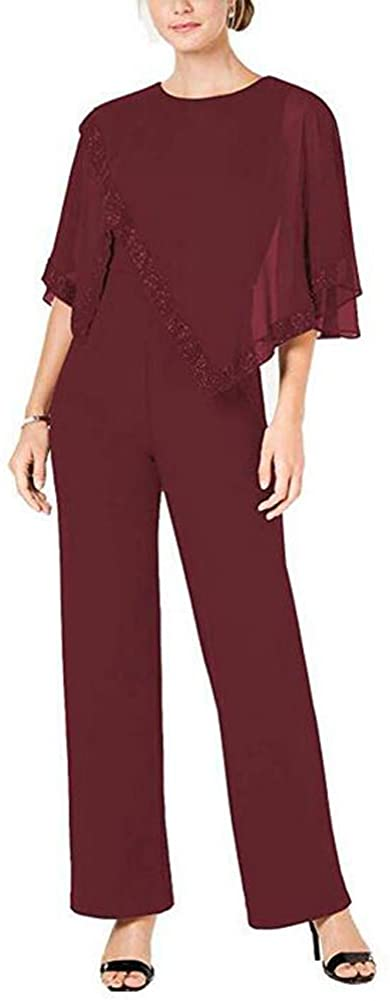 Elegant Womens Burgundy 2 Pieces Pant Suits Set Chiffon Mother of The Bride Dress with Outfit Plus Size US16W