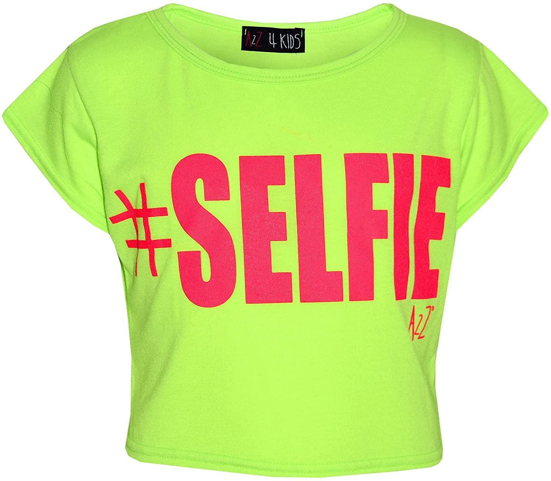 Kids Girls Season # Selfie Printed Crop TOP T Shirt 7 8 9 10 11 12 13 Yr