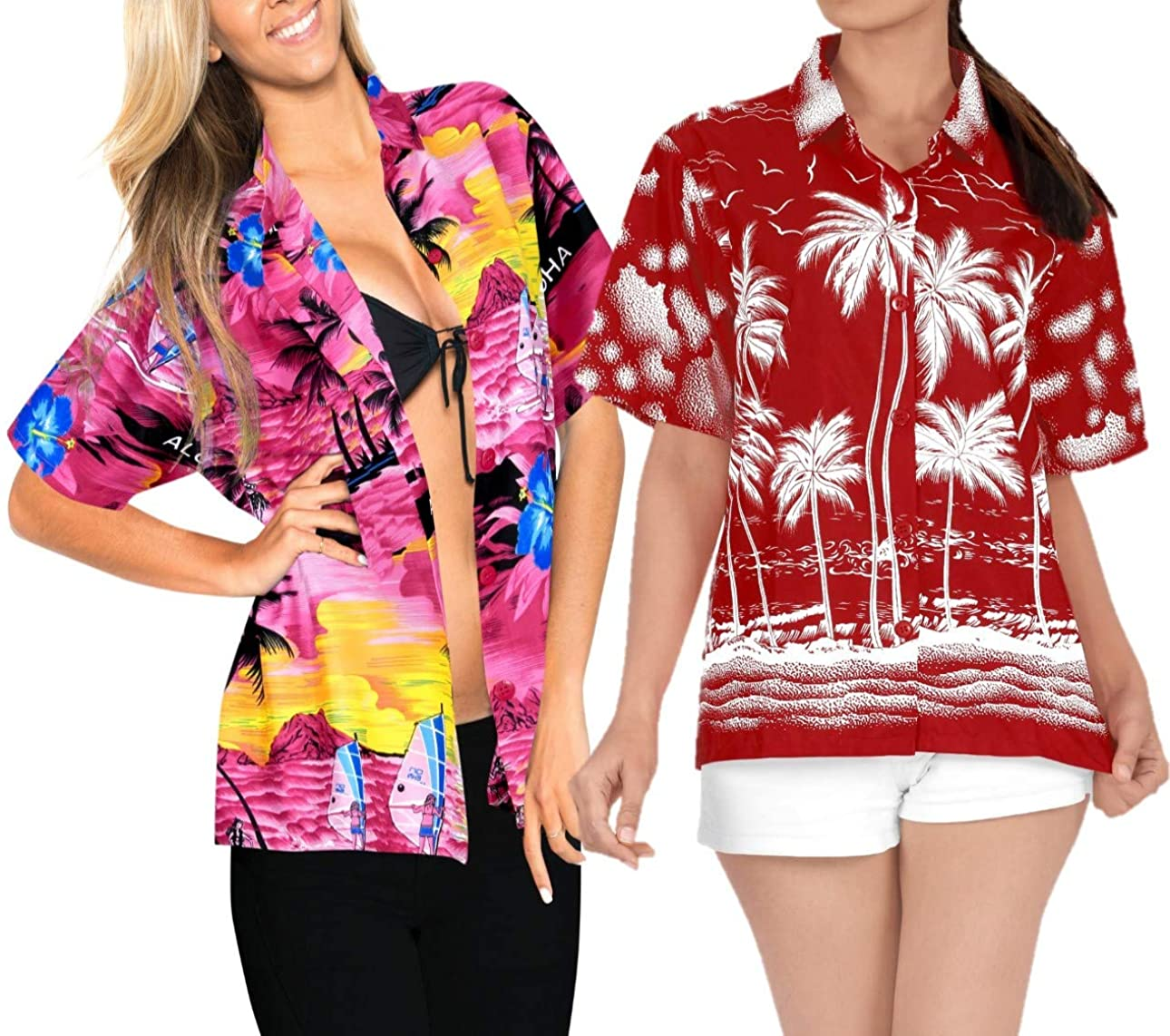 LA LEELA Women's Hawaiian Blouse Shirt Button Down Aloha Luau Shirt Work from Home Clothes Women Beach Shirt Blouse Shirt Combo Pack of 2 Size L