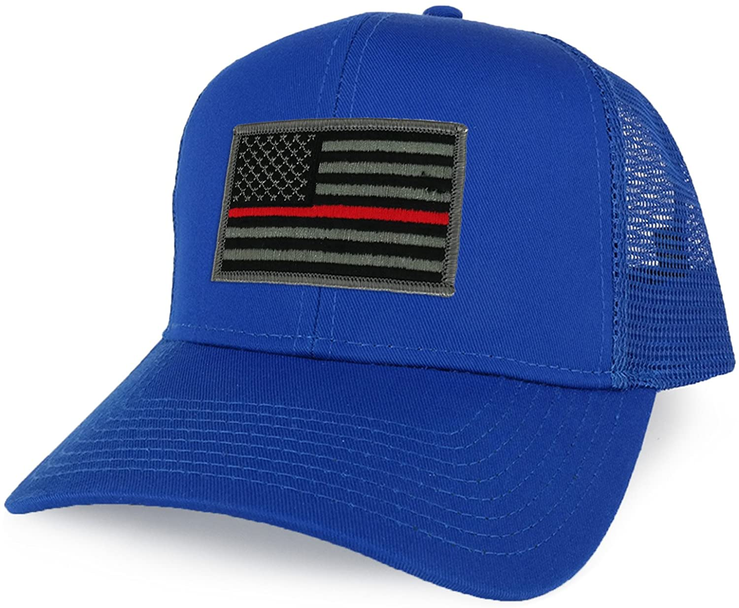Armycrew XXL Oversize Thin Red Line USA Flag Patch Mesh Back Trucker Baseball Cap