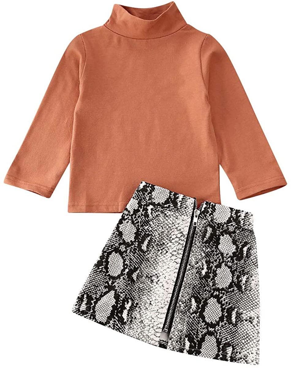 2Pc Toddler Baby Girls Skirt Set Long Sleeve Solid Stand Collar Tops Shirt Snakeskin Zip A-Line Skirt Outfit