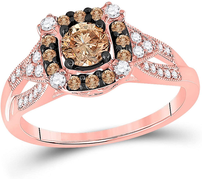 Brandy Diamond Chocolate Brown 14K Rose Gold Diamond Stunning Solitaire Bridal Engagement Ring 7/8 Ctw.