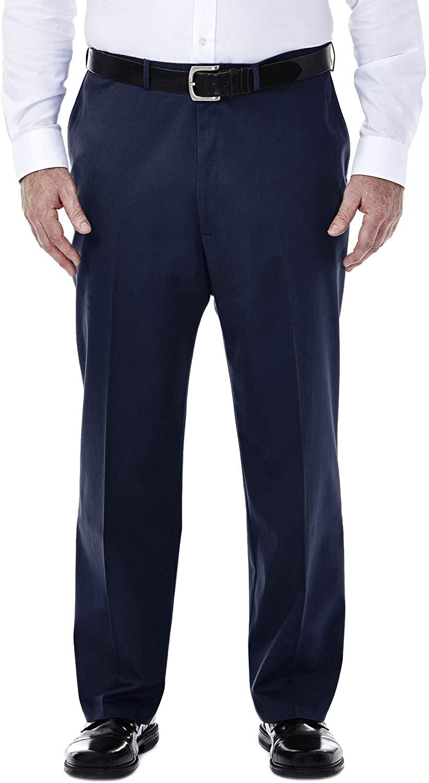 Haggar Men's Big-Tall Premium No Iron Classic Fit Expandable Waist Plain Front Pant, Dark Navy, 50Wx32L
