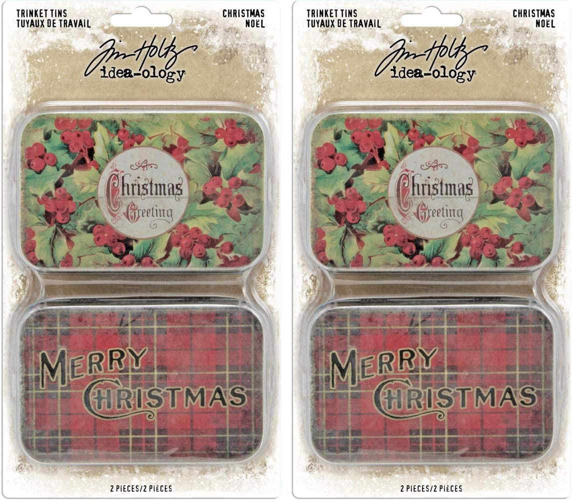 Tim Holtz Idea-Ology Metal Trinket Tins - 2019 Christmas - Bundle of Two Packages
