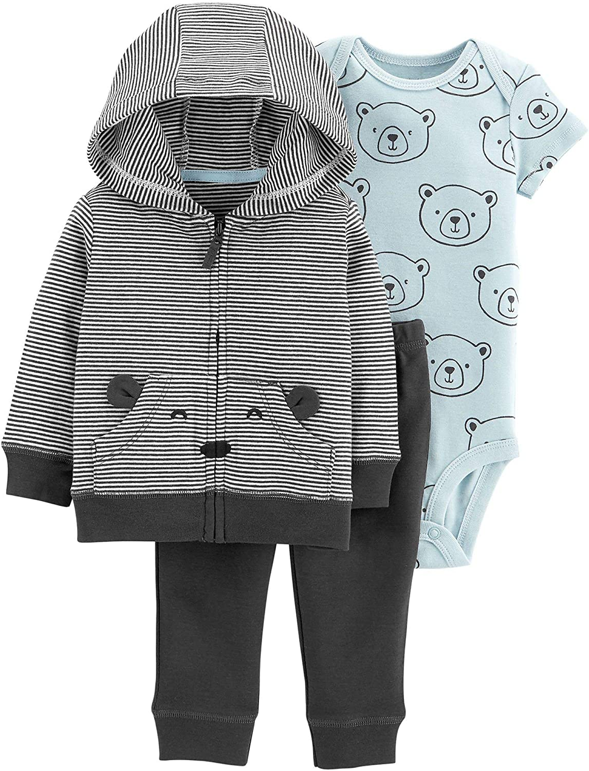 Carters Baby Boys 3-pc. Bear Jacket Clothing Set 3 Month Grey/Blue