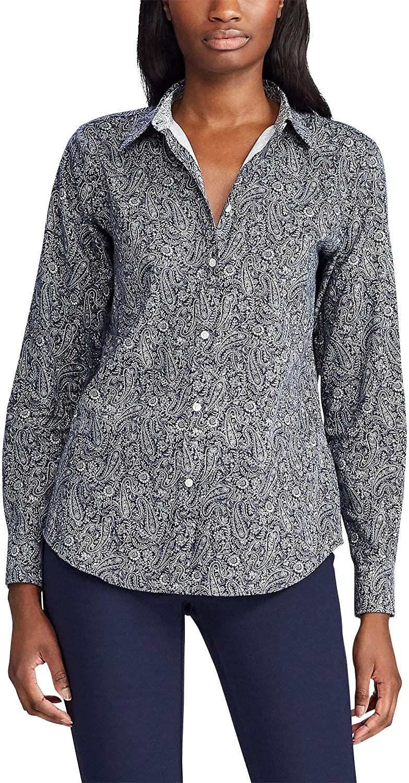 Chaps Womens Petite Long Sleeve Non Iron Cotton Sateen-Shirt