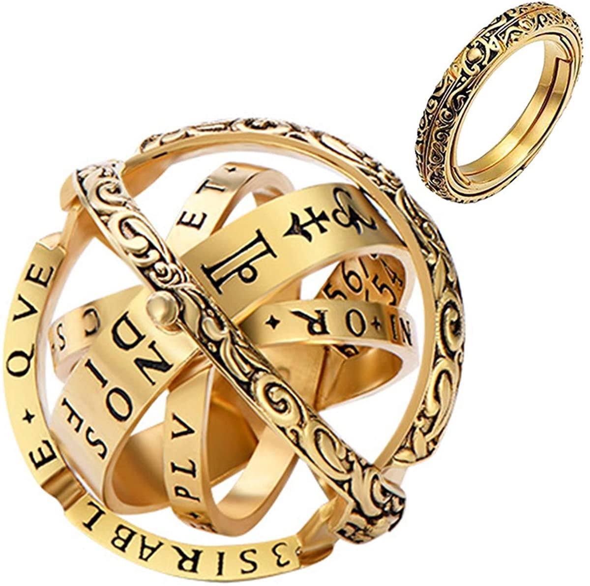 YandMe 2019 New Astronomical Sphere Ball Ring Vintage Foldable Open Cosmic Ring Best Gift for Lover