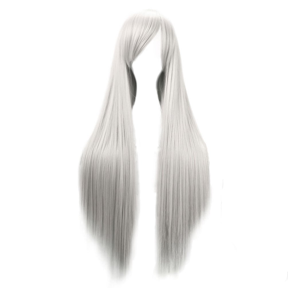 Long Straight Cosplay Wigs for Women Heat Resistant Daily Hair Wig Silver White