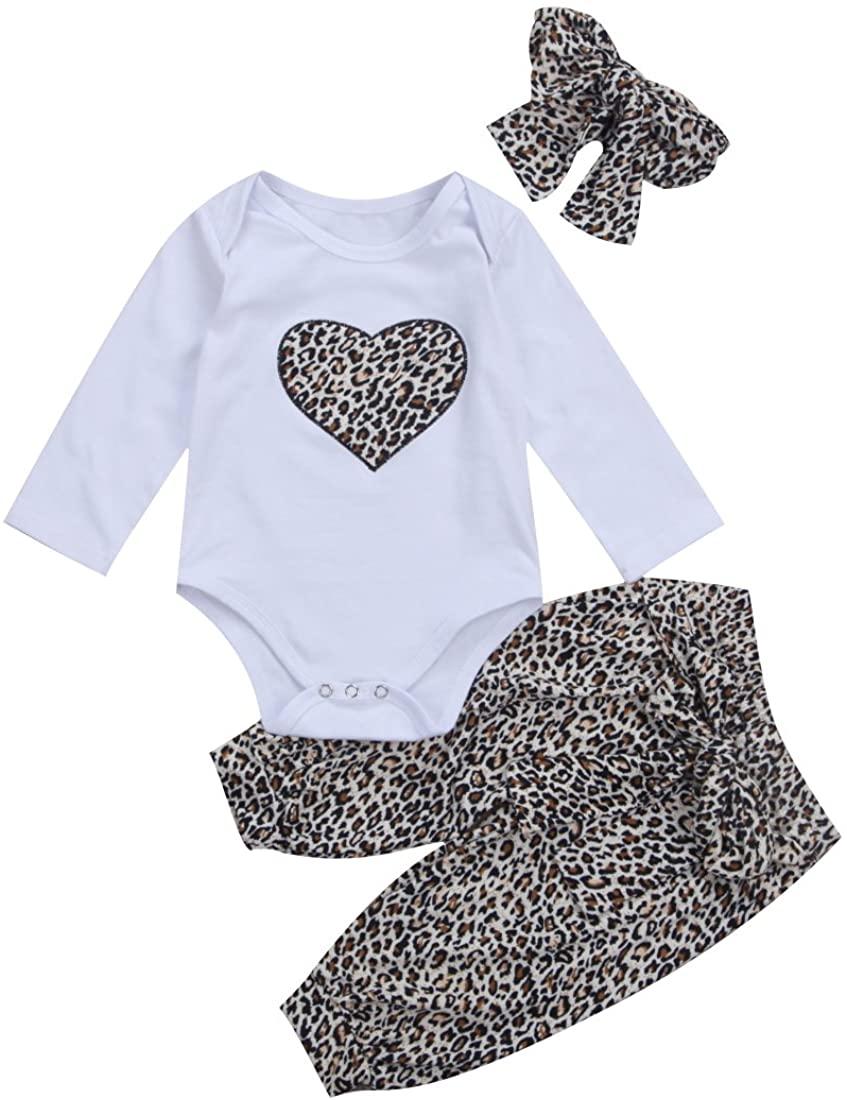LXXIASHI Newborn Baby Girls Solid Romper Bodysuit + Leopard Pants + Headband Outfits