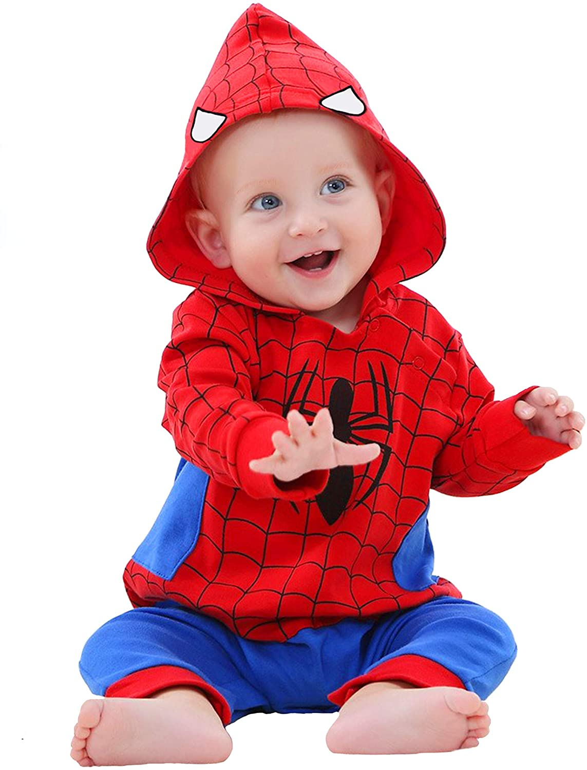 YuDanae Baby Cotton Superhero Funny Romper with Hat Cap Outfit Costume for Toddler Baby Aged 0-2
