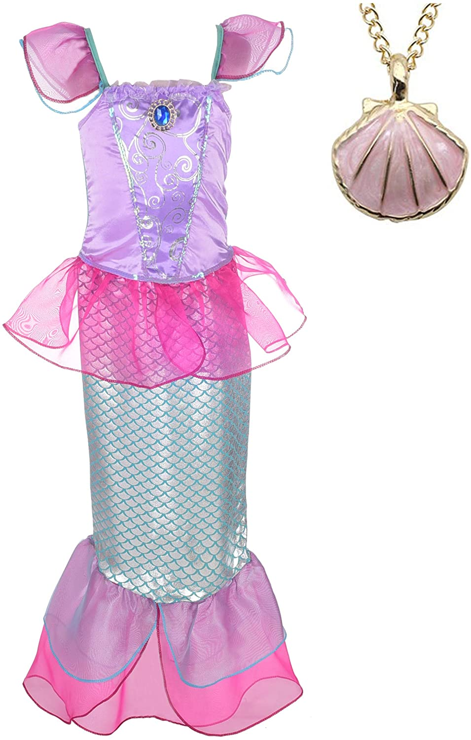 Lito Angels Girls Princess Dress Up Mermaid Costume Fairy Tales Mermaid Outfit with Necklace