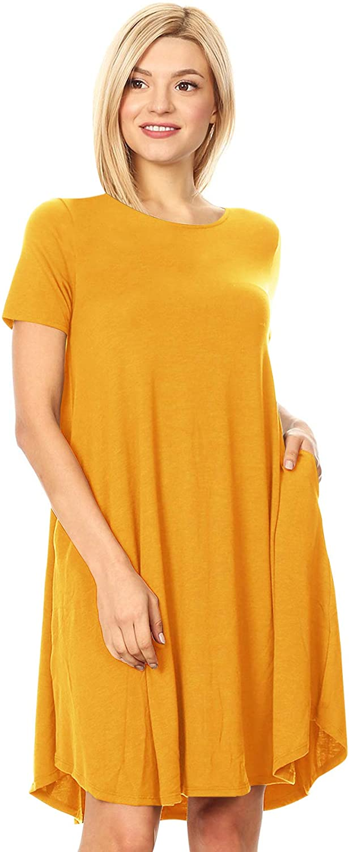 FashionJOA Women's Casual Solid Short Sleeve Pleated A-line Pocket Midi Dress