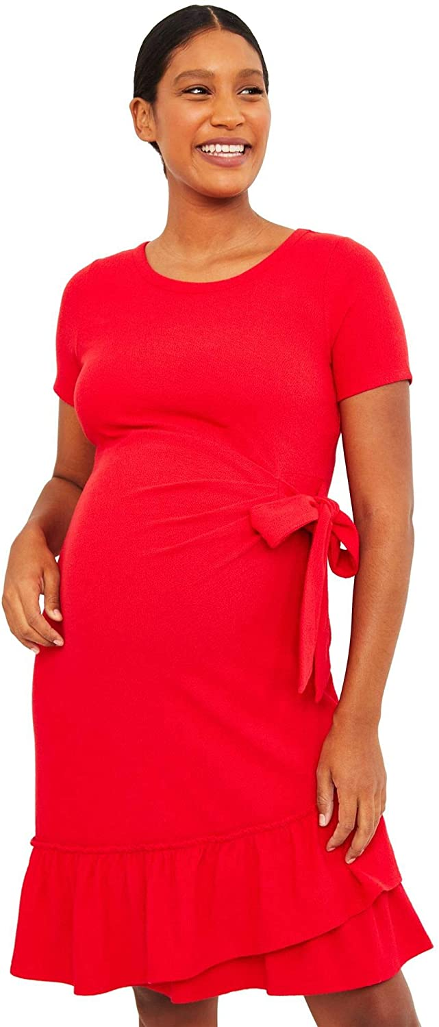 A Pea in the Pod Cuffed Maternity Dress Red