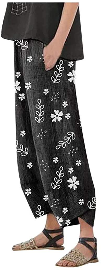 KESEELY Women Casual Loose Floral Print Cotton Linen Elastic Waist Pocket Wide Leg Pants