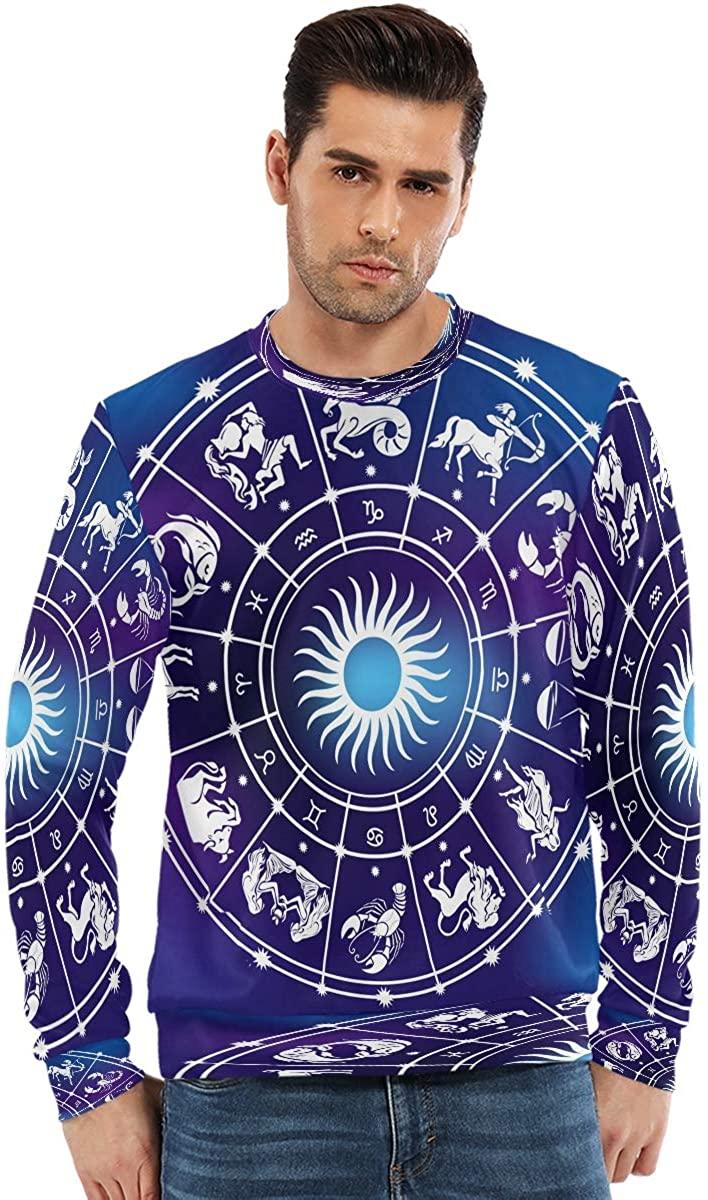 SLHFPX College Crewneck Sweatshirt Men Roman Zodiac Capricorn Long Sleeve T Shirts Hoodless Cool Boys