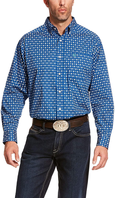 ARIAT Mens Bruno Stretch Classic Fit Shirt Vertical Blue