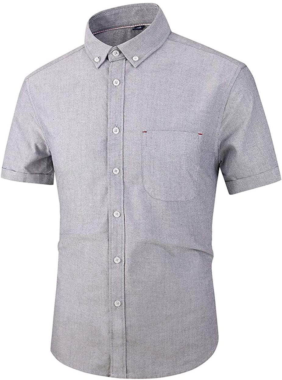 ebossy Men's Short Sleeve Button Down Plain Oxford Dress Shirt