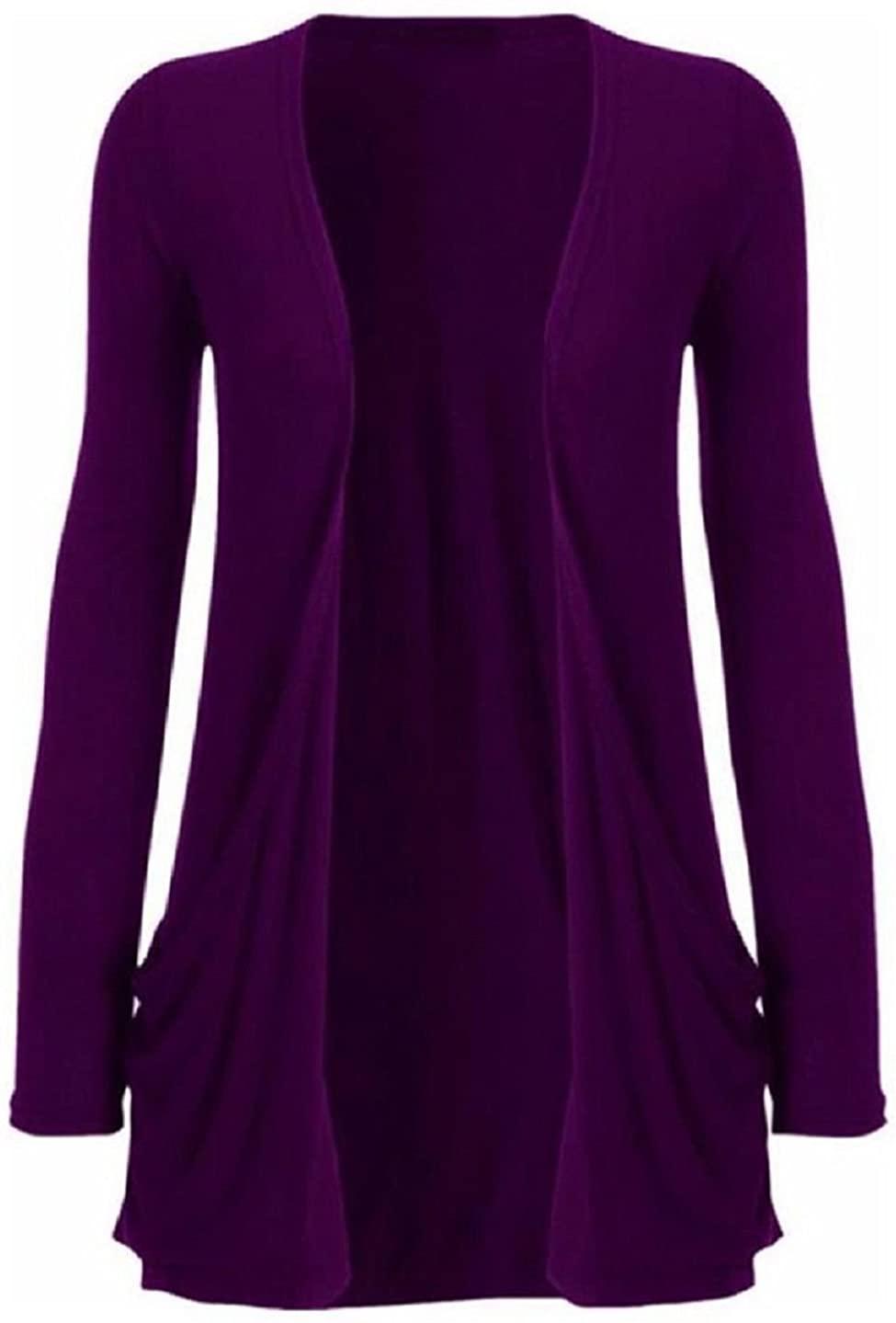 Hot Hanger Ladies Plus Size Pocket Long Sleeve Cardigan 16-26 : Color - Purple : Size - 16-18 LXL