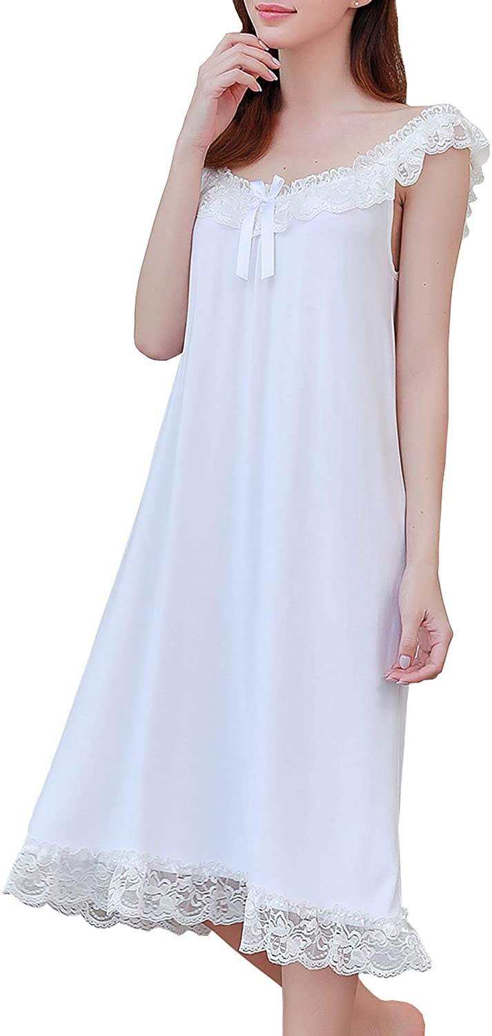 Saftybay Womens Victorian Sleepwear Soft Modal Sleeveless Nightgown Pajamas Lace Trims Sleepshirts S-XL