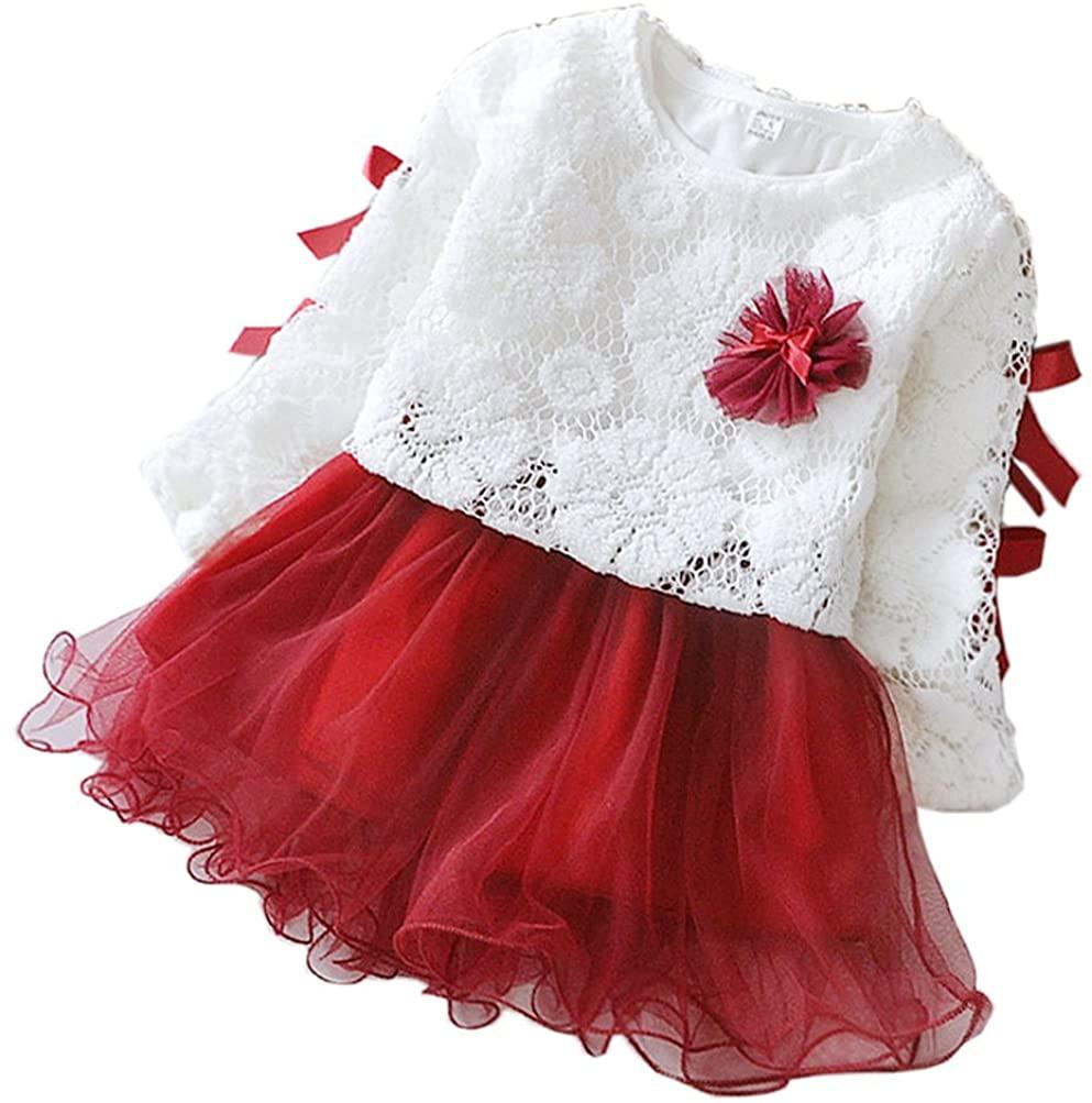 2 - Piece Baby Girls Long Sleeve Princess Flower Dress