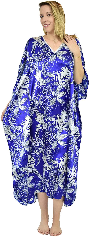 Up2date Fashion Women's Satin Tropical Saphire Print Caftan/Kaftan, One Size, Style Caf-15