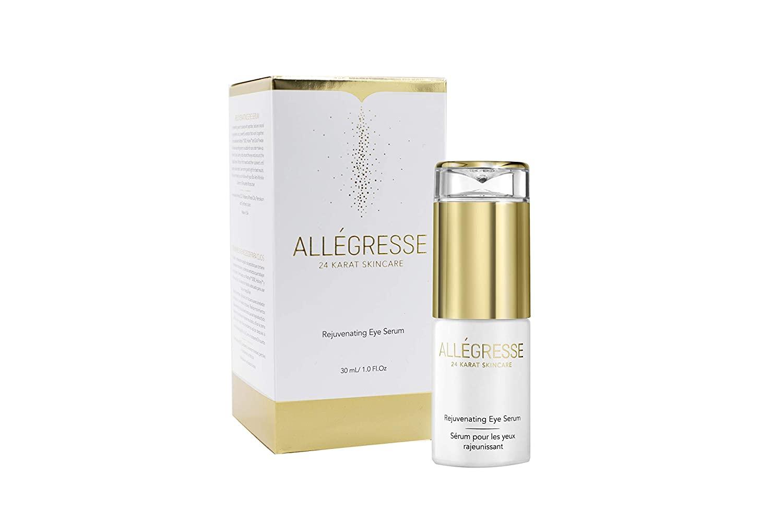 ALLÉGRESSE 24 KARAT SKINCARE Gold Rejuvenating Eye Serum- Anti Aging Moisturizing Serum to Reduce Dark Circles , Fine Lines and Puffiness - With Natural Oils, Extracts, Matrixyl 3000 Peptides , Haloxyl , Vitamin E and Antioxidants - 1 oz