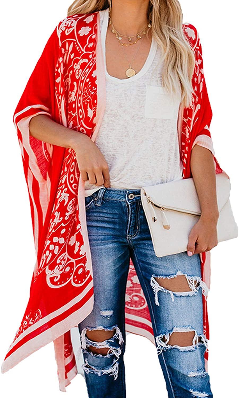 ROSKIKI Women Kimono Vintage Floral Beach Cover Up