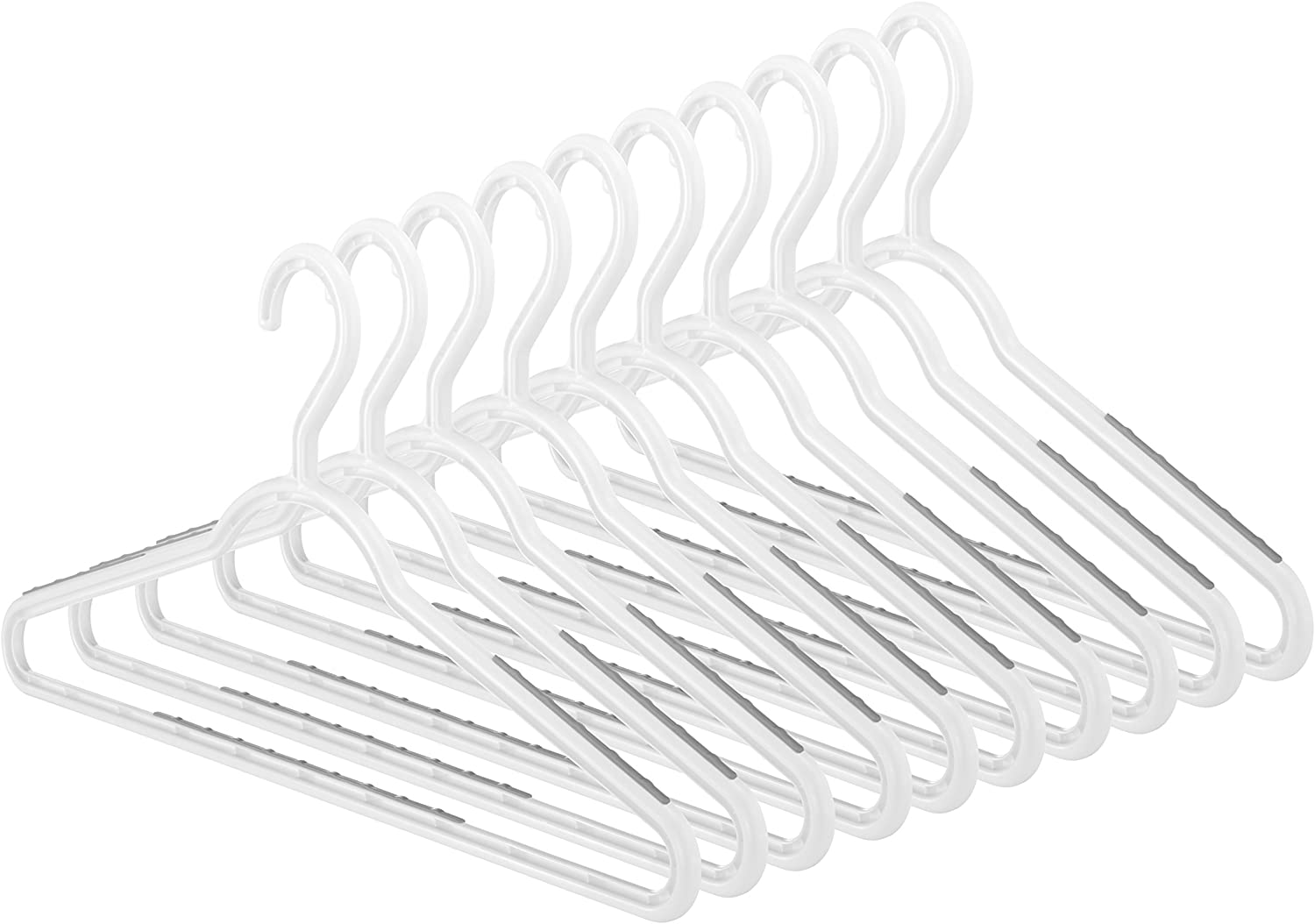 Whitmor Slim Paloma Gray-Set of 10 Sure-Grip Hangers