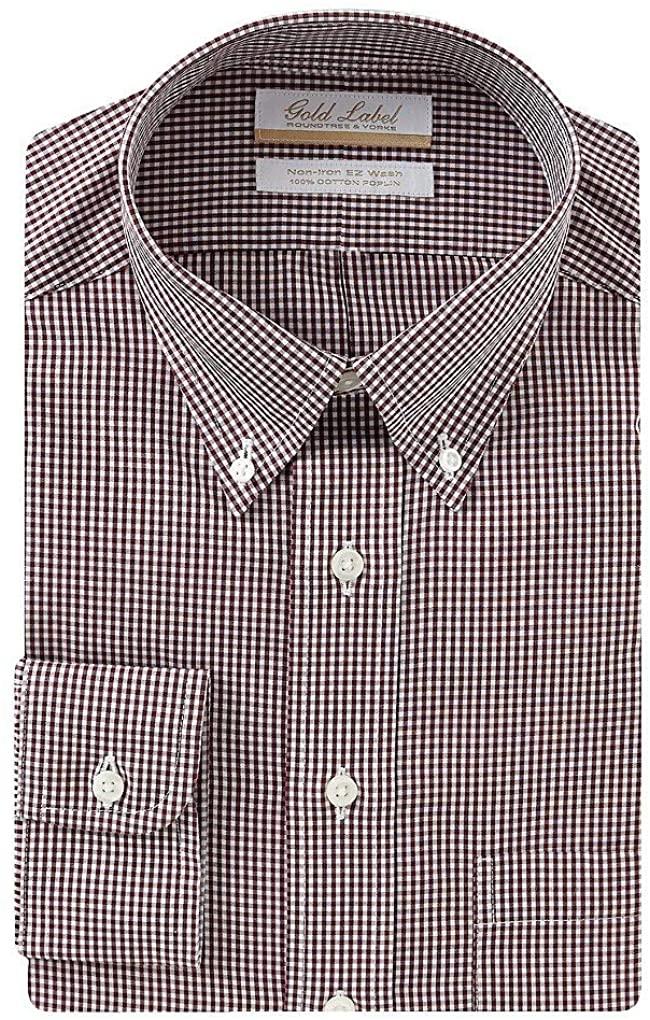 Gold Label Roundtree & Yorke Non-Iron Regular Big Tall Button Down Check Dress Shirt S85DG054 Burgundy