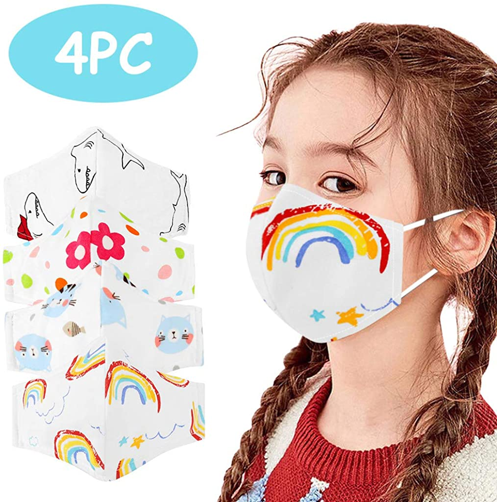 4 PC Kid's Mask Washable Reusable Printed Cotton Bandanas Face Covering for Children,for Outdoor,Indoor