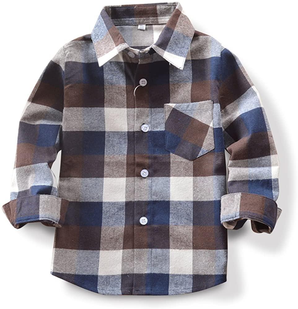 Boys Plaid Flannel Shirt Coffee 150cm