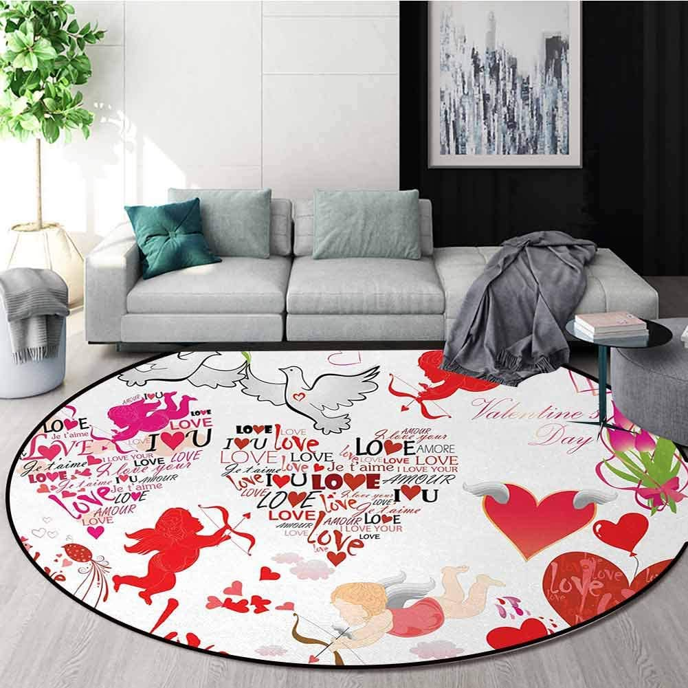 Love Rug Round Home Decor Area Rugs,A Collection of Valentines Day Themed Cupid Silhouettes with His Arrows Love Birds Non-Skid Bath Mat Living Room/Bedroom Carpet Diameter-51 Inch,Multicolor