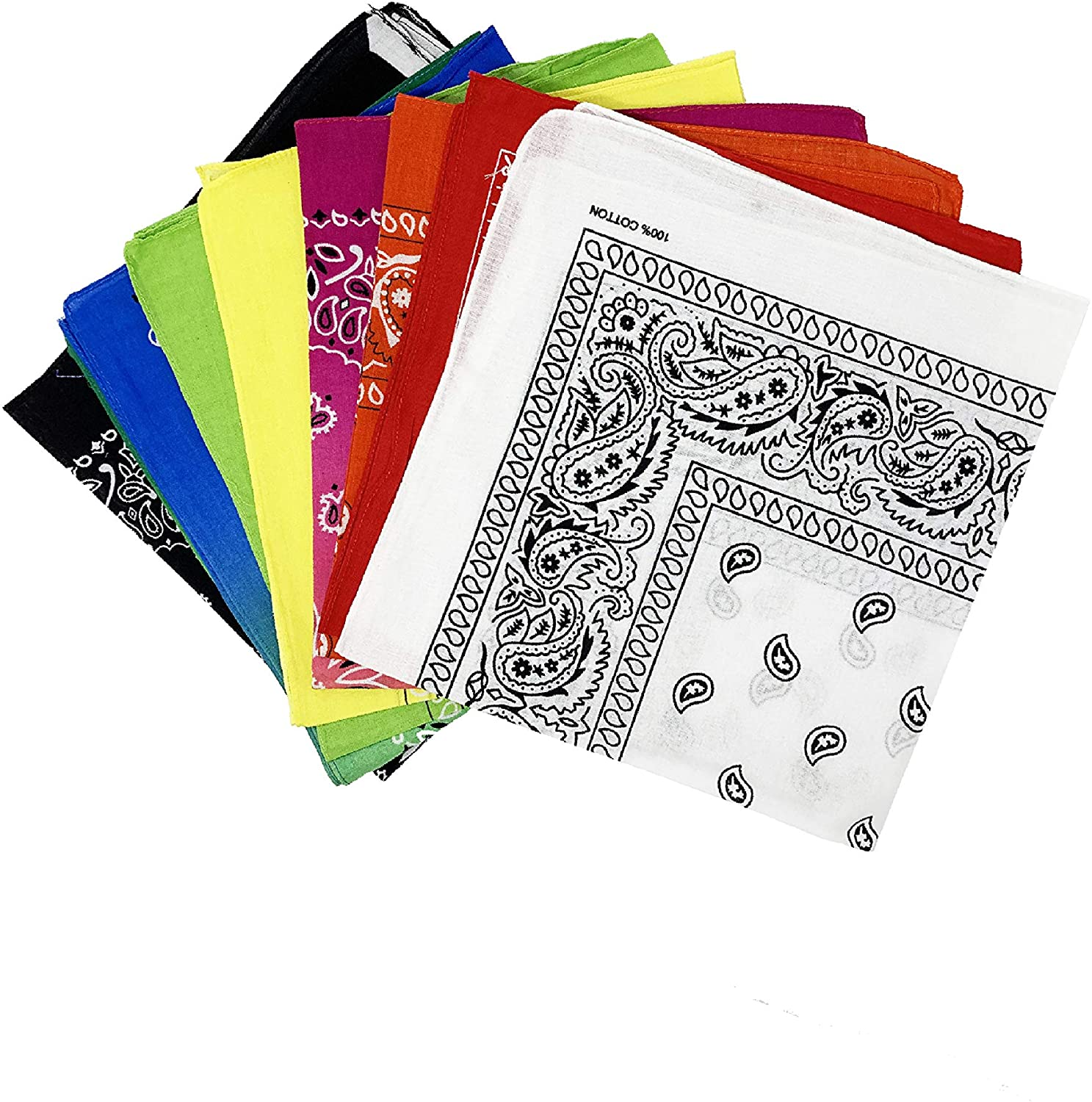 Pieced Together | Assorted Novelty Paisley Print Bandanas | 7 Piece | Double-Sided | 22 in x 22 in