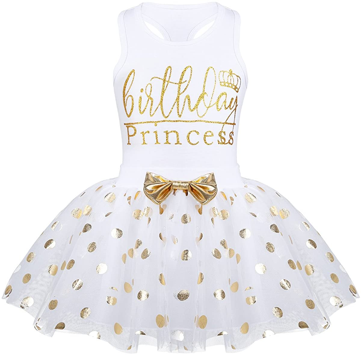 YONGHS Kids Baby Girls First Birthday Party Outfits Sleeveless Letters Printed Top with Polka Dots Tutu Skirt Set Casual Wear