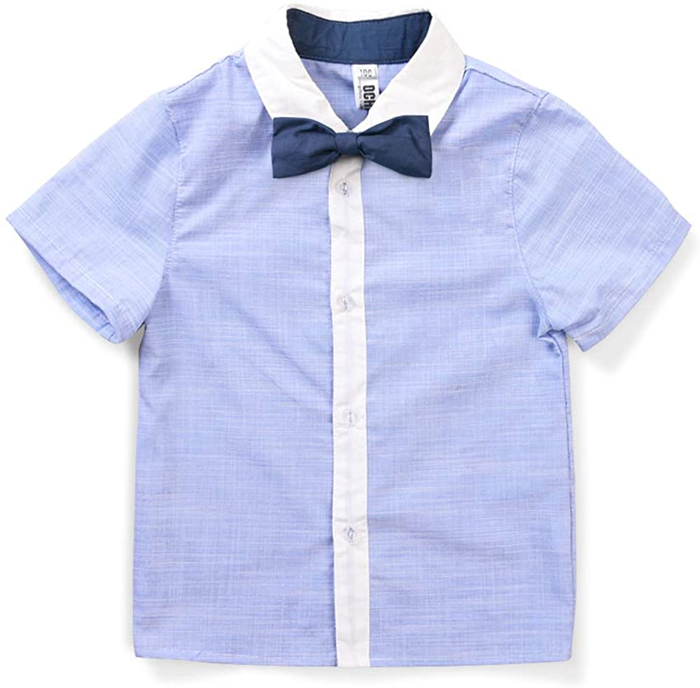 OCHENTA Little Big Boys' Short Sleeve Button Down Oxford Shirt