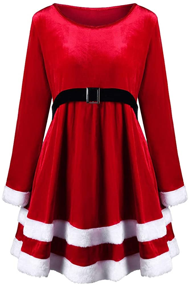 iTLOTL Christmas Fashion Womens Merry Christmas Velvet Long Sleeve O-Neck Red Festival Dress