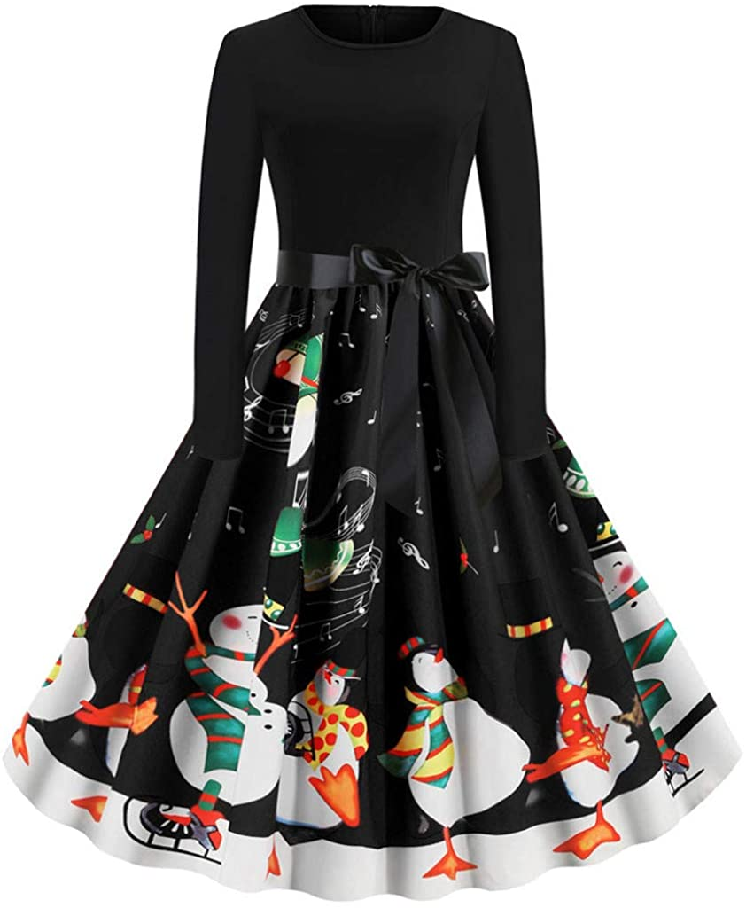 TOTOD Women Christmas Penguin Dot Print Dress 1950s Housewife Xmas Costume O-Neck Party Cocktail Dresses